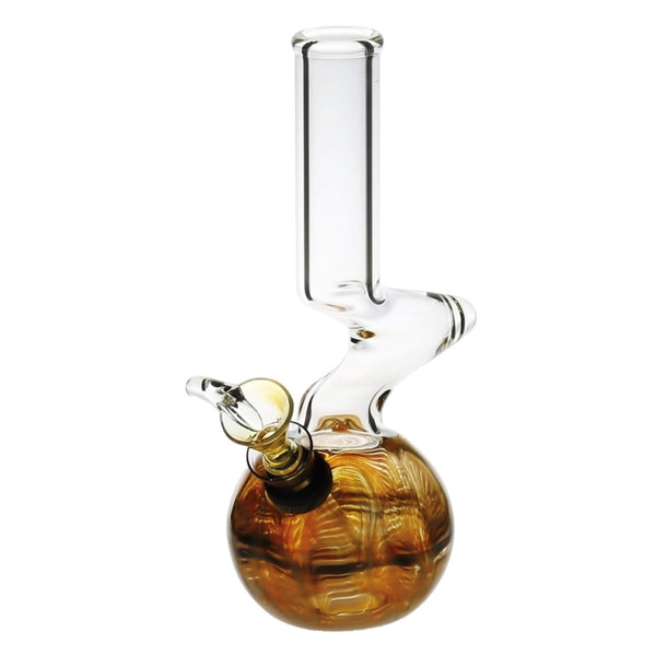 elbow water pipe, yellow round base, clear, glass water pipe with herb slide