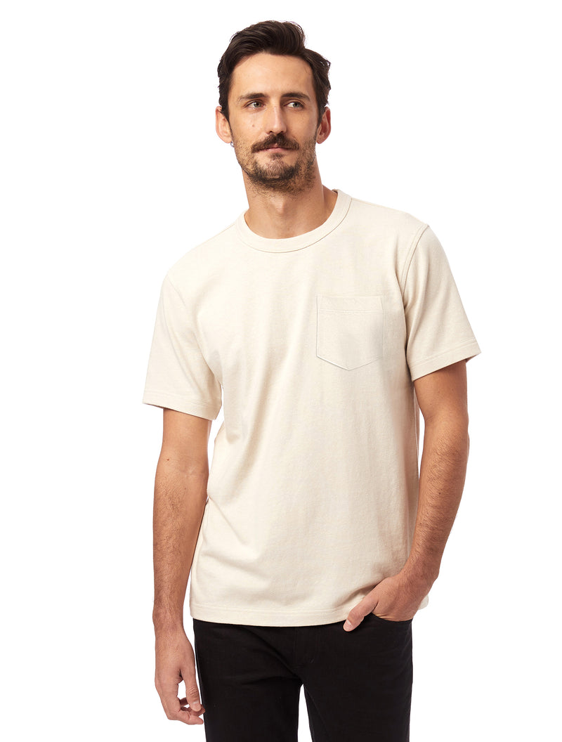 Alternative Apparel Recycled Cotton Pocket Tee- Ecru