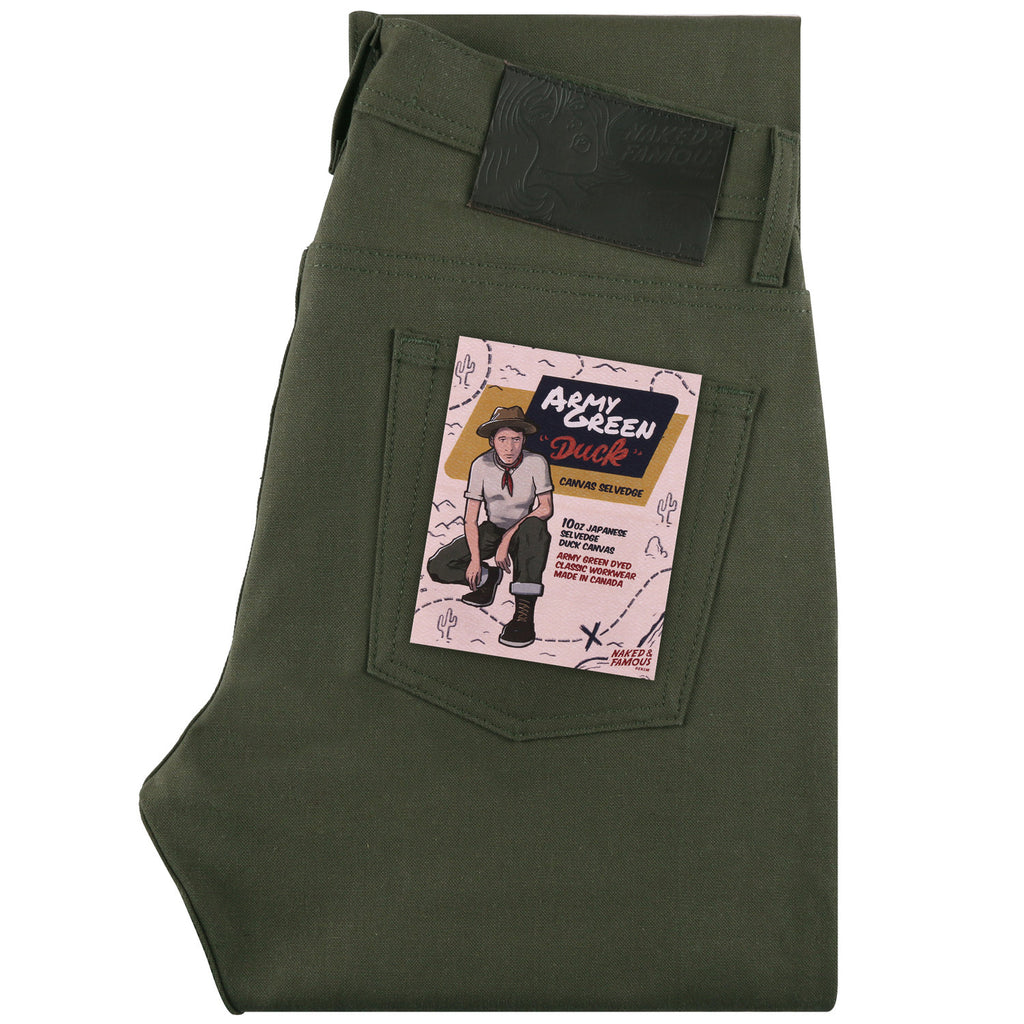 Naked and Famous- Army Green Duck Canvas Selvedge- Super Guy