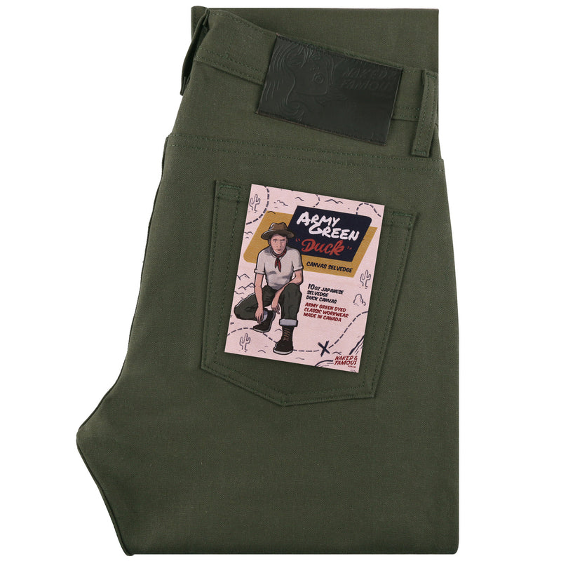 Naked and Famous- Army Green Duck Canvas Selvedge- Weird Guy