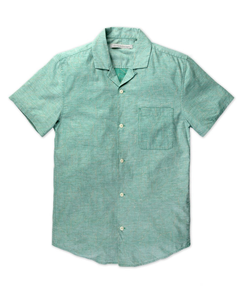 Outerknown- BBQ Shirt- Teal Banana Leaf