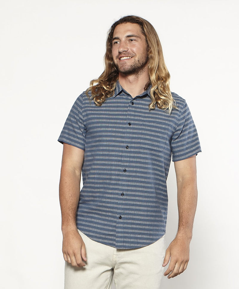 Outerknown- Sea Shirt- Pacific Koa Stripe
