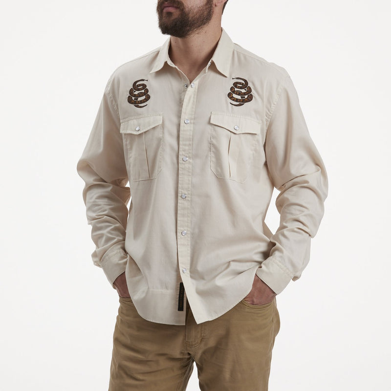 Howler Brothers Gaucho Snapshirt- Riverbed Oxford Cottonmouth