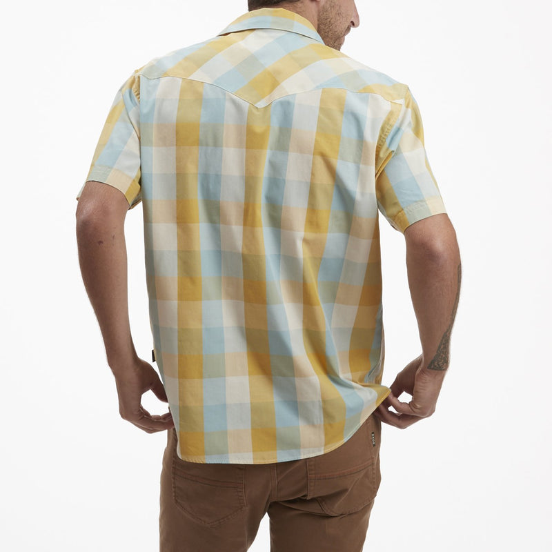 Howler Brothers H Bar B Snapshirt- Alpine Plaid Light Blue Dijon