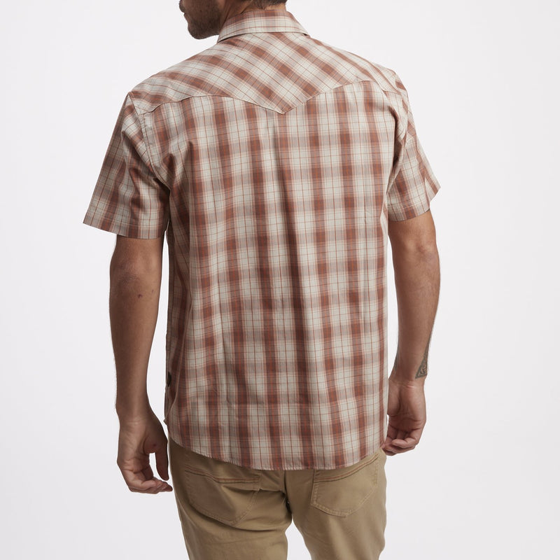 Howler Brothers H Bar B Snapshirt- Neches Plaid Red Clay