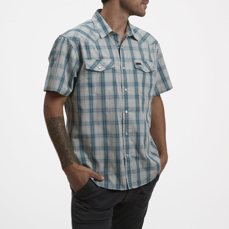 Howler Brothers H Bar B Snapshirt- Neches Plaid River Blue