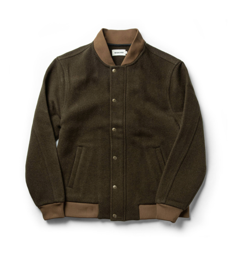 Taylor Stitch- The Bomber Jacket In Olive Wool