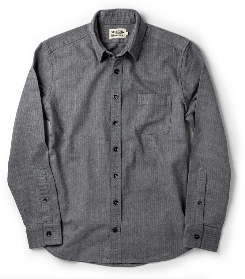 Taylor Stitch- The Mechanic Shirt in Slate Herringbone