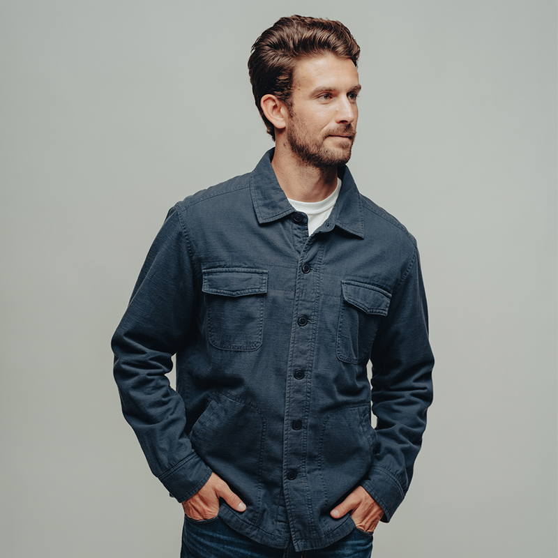 The Normal Brand-Flannel Lined Twill Shirt Jacket-Blue