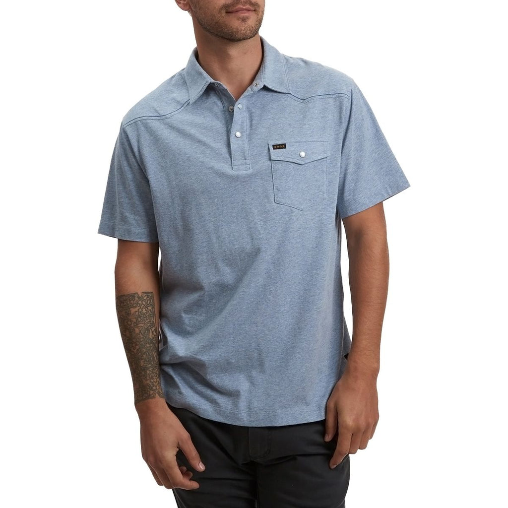 Howler Brothers Ranchero Polo- Vintage Blue Heather