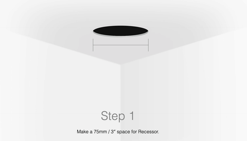 "Aeotec Recessor Mount - Step 1 - Make a 75mm / 3"" space for Recessor."