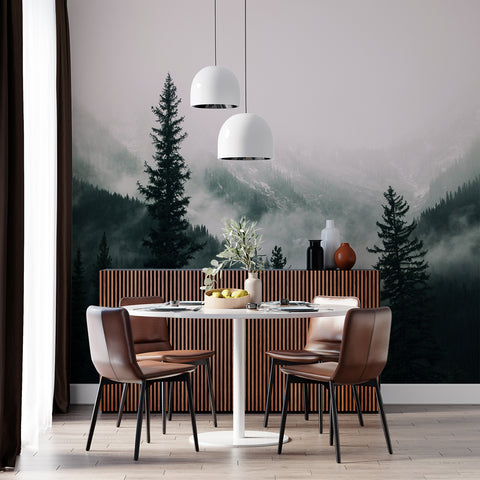 Dinning room accent wall | ever green mountain view