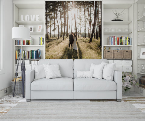 living room accent wall | engagement photo wall mural