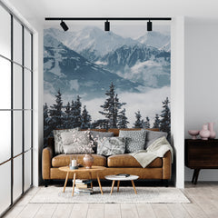 living room accent wall | winter mountain view wall mural