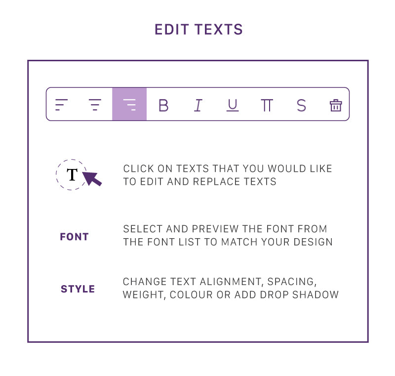 Edit texts to personalize any designs