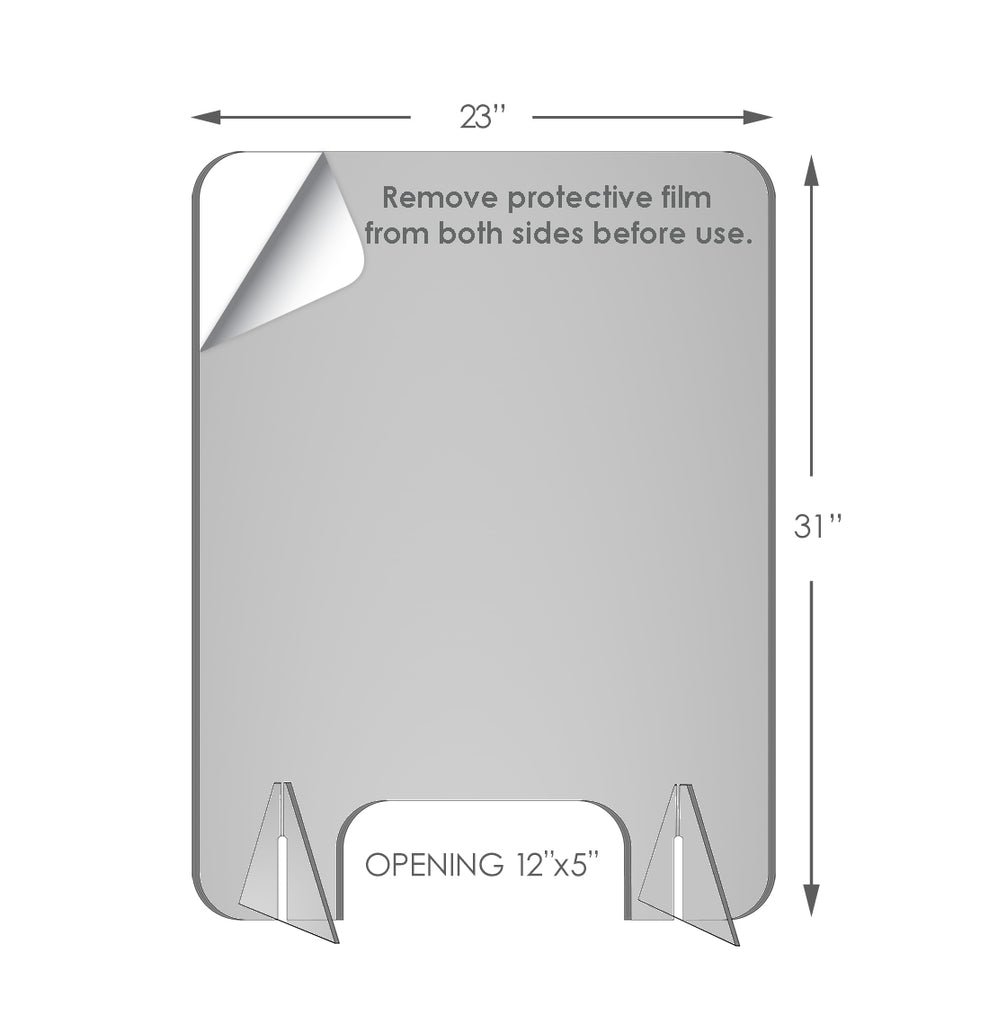 "Remove protective film from both sides before use. (Size in demo: 23"" x 31"" Small 4.5mm clear acrylic protective desktop stand."