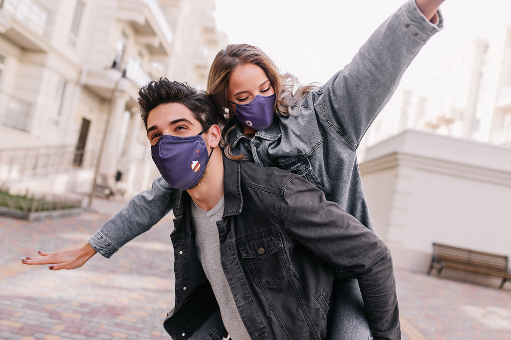 Dark purple matching face masks (Coffee and Donut) for you and your loved one!