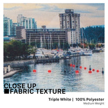 Load image into Gallery viewer, Close-up image of a printed triple white and the texture of the 100% polyester woven fabric. It is washable and durable, perfect solution to a wall tapestry, table cloth, and picnic blanket!