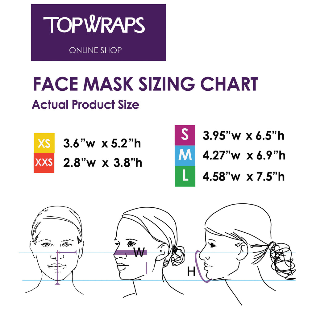 "Face mask sizing chart, actual product size: XS 3.3""x5.2 ; S 3.95""x6.5"" ; M 4.27""x6.9 ; L 4.58""x7.5"""