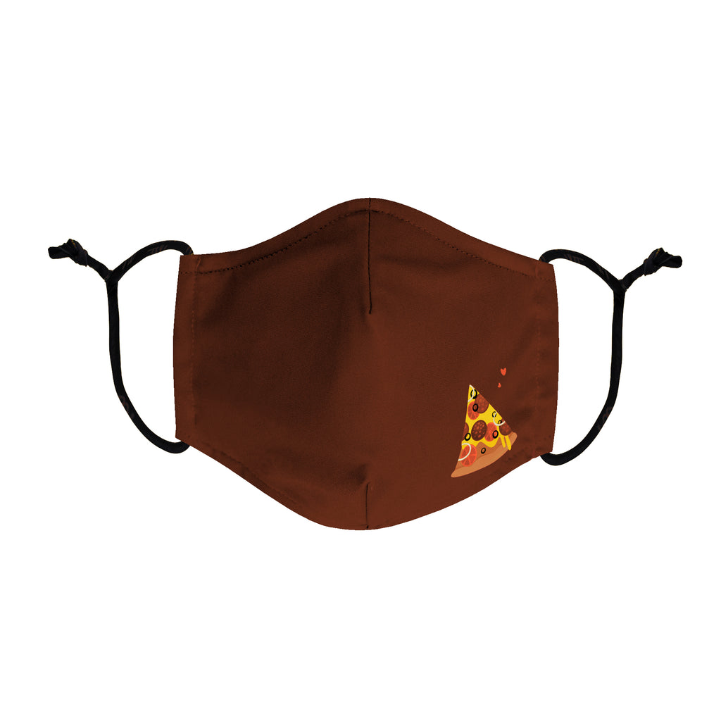 Burgundy face mask with a slice of pizza printed on the left side of face