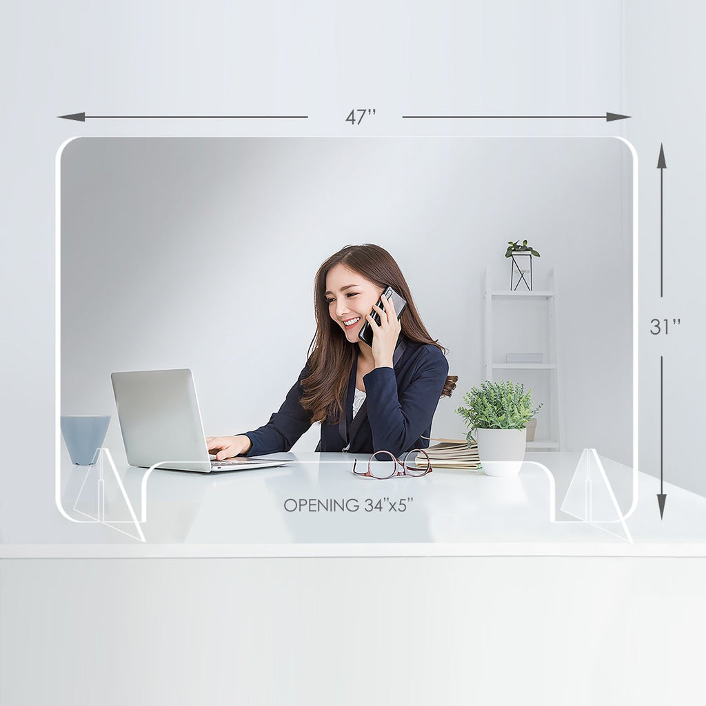 Large horizontal clear acrylic protective stand for desktop or countertop use. 34 inch by 31 inch with an opening of 34 inch by 5 inch at the bottom.