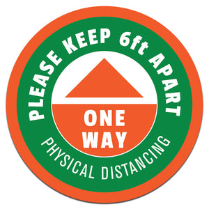 OneWay-Physical Distancing Floor Decals | 14""
