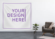 Load image into Gallery viewer, Available in two sizes | 8 x 8 FT | 6 x 7 FT | Custom printed Wall Tapestry on 100% medium weight polyester (triple white) fabric | durable and easy to hang, easy to move around | good for wall decor, table cloth, picnic blanket..etc. Design you own today!  A premium quality multipurpose wall tapestry!