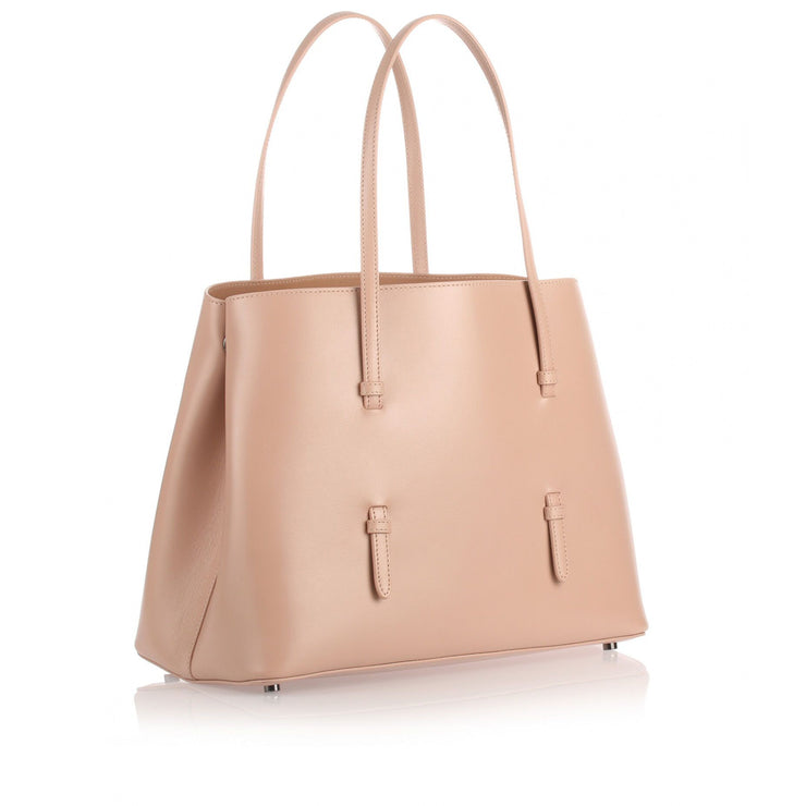 Nude leather tote