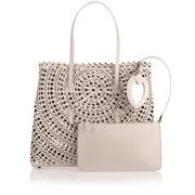 Pearl grey leather cut-out bag