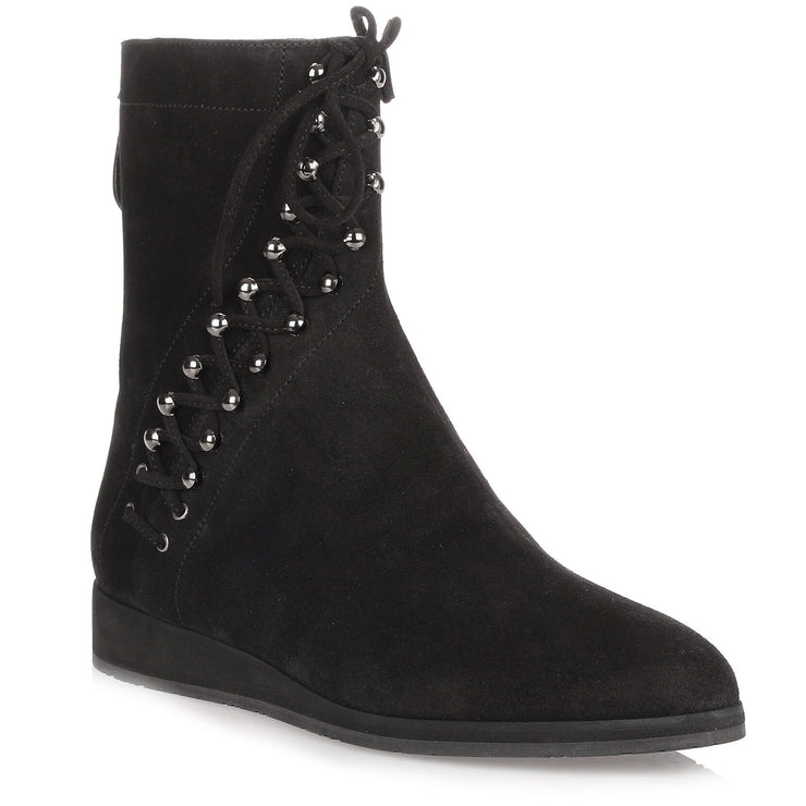 Black suede lace-up ankle boot