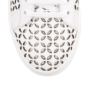 White laser-cut leather sneaker