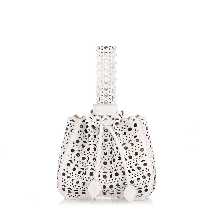 White leather laser-cut bucket bag