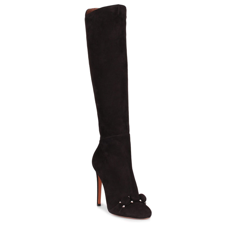 Black suede bombe knee boot