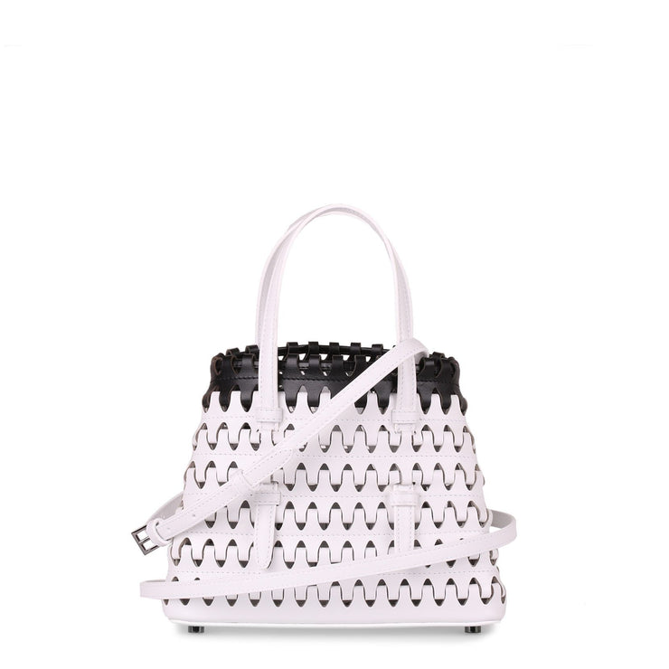 Monochrome leather laser-cut mini tote