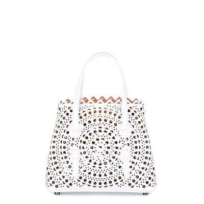 White leather cut-out mini bag