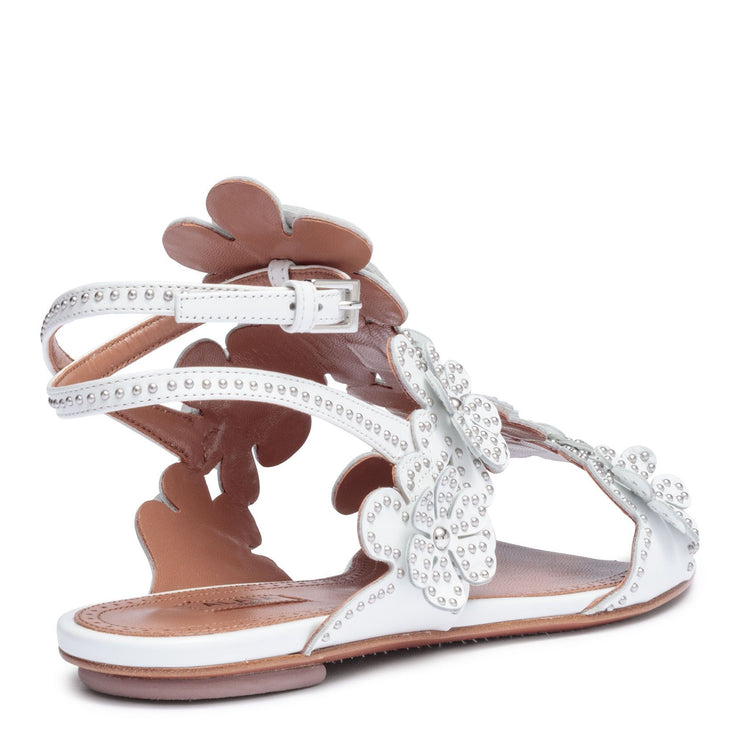 White leather floral flat sandals