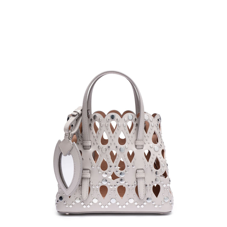 Grey leather studded mini tote