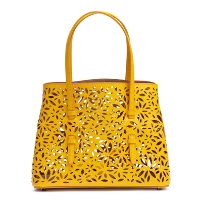 Yellow laser-cut leather small tote