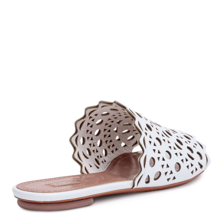 White leather laser-cut slide sandals