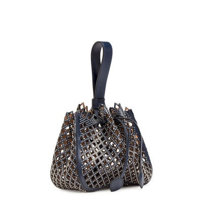 Navy Leather Studded Bucket Bag