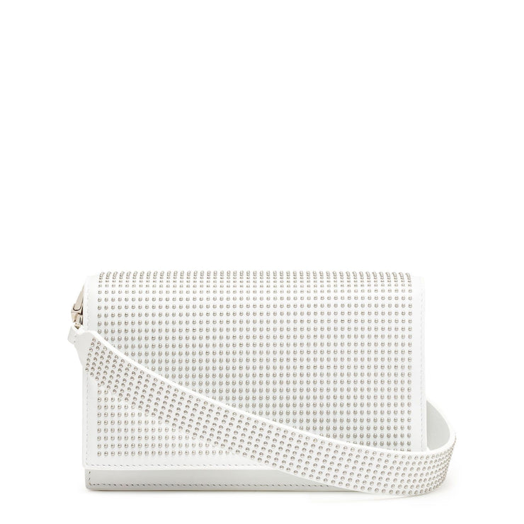 White leather studded cross-body bag