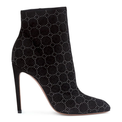 Black suede 110 studded booties