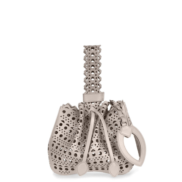 Light grey laser-cut small bucket bag