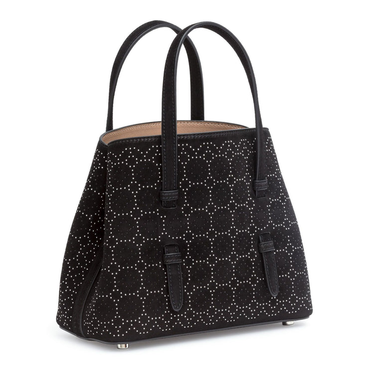 Black suede studded mini tote bag