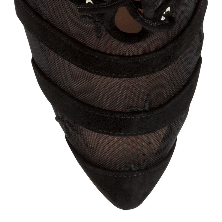 Black suede flower mesh ankle bboots