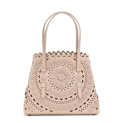 Mina small light beige flower tote