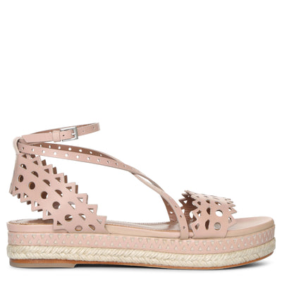 Nude calf leather espadrille sandals
