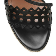 Black leather wedge espadrille sandals