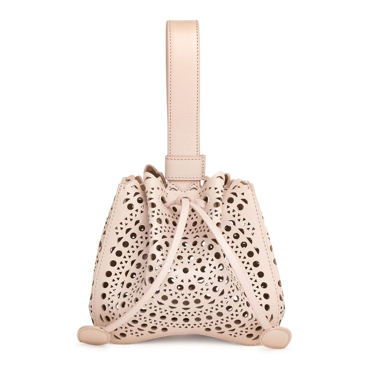 Rose-Marie Mini blush laser-cut bucket bag