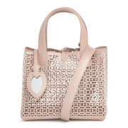 Frida Mini blush and white laser-cut bag